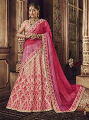 Peach Raw Silk Party Wear Lehenga With Pink Dupatta
