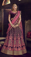 Purple Velvet Party Wear Lehenga With Pink Dupatta