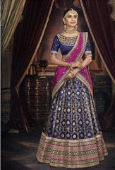 Blue Handloom Silk Party Wear Lehenga With Blue Choli And Magenta Dupatta