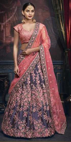 Bluish Grey Handloom Silk Party Wear Lehenga With Peach Choli And Peach Dupatta