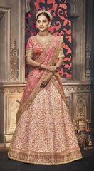 Pink Handloom Silk Party Wear Lehenga With Pink Choli And Yellow Dupatta