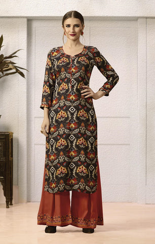 Plazo Kurti Set,Black Floral Print Kurti With Rusty Orange Embroidered Plazo