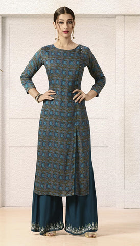 Plazo Kurti Set,Blue Floral Print Kurti With Blue  Embroidered Plazo