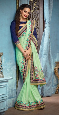 Light Green Georgette Party Wear Saree With Blue Blouse