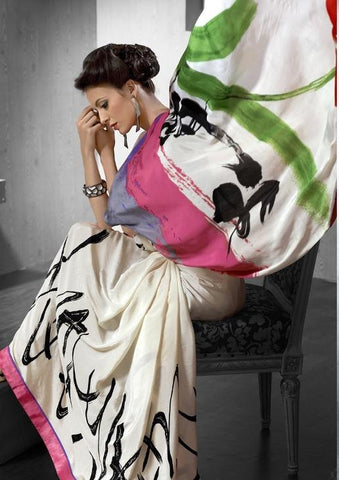 Multicolored white printed saree