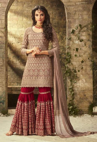 Beige Georgette Sharara Suit With  Dupatta