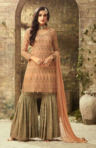 Peach Georgette Sharara Suit With  Dupatta
