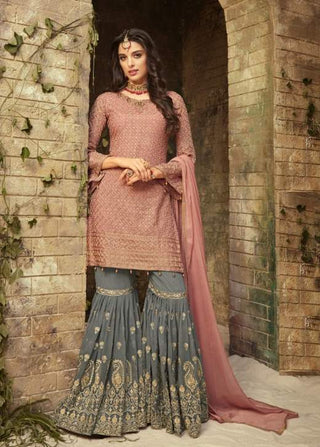 Pink Georgette Sharara Suit With  Dupatta