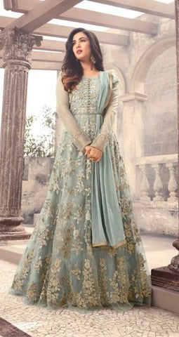 Aqua Green Net Heavy Embroidered Anarkali Type Suit With Dupatta