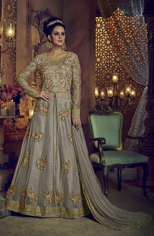 Grey Net Anarkali Salwar Suit With Dupatta