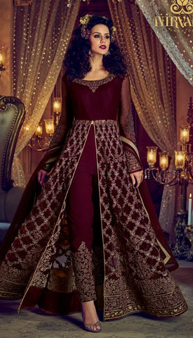 Maroon Net Anarkali Salwar Suit With Dupatta