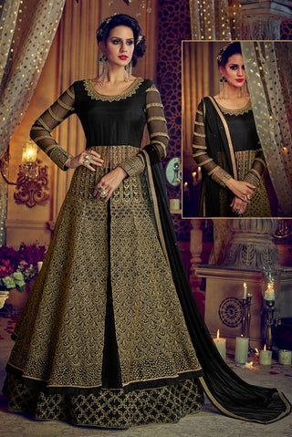 Black Net Anarkali Suit With Dupatta