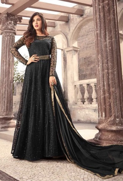 f70e395373 Black,Net,Anarkali suits. Floral Embroidered Black Gown Style ...