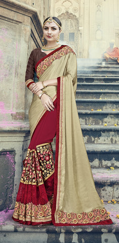 Beige , Red,Satin , Georgette,Designer saree