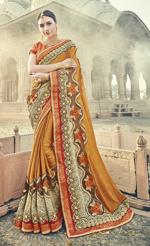 Yellow,Satin , Georgette,Designer saree