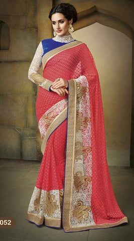 Saree Red , Blue,Brosso