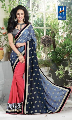 Peach , Grey,Half jacquard , half georgette,Designer saree half & half fabric with embroidery work