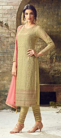 Yellow Georgette Party Wear  Suit With  Dupatta