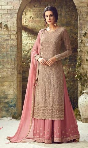 Beige Georgette Party Wear  Suit With  Dupatta