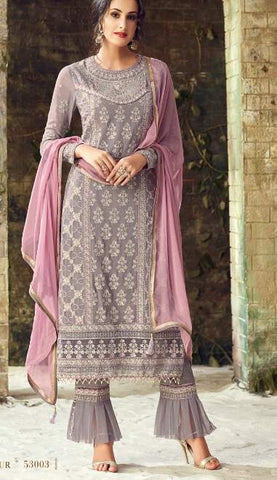 Grey Georgette Party Wear  Salwar Kameez With  Dupatta