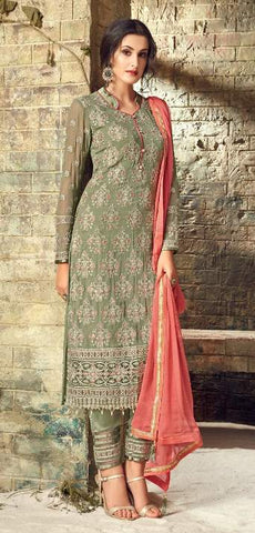 Green Georgette Party Wear  Salwar Suit With  Dupatta