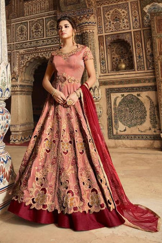 Maroon Tafetta Party Wear  Anarkali Suit With Maroon Dupatta