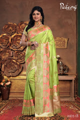 Green Meenakari Silk Party Wear Saree With Green Blouse