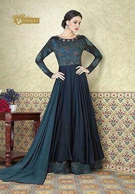 Blue Floor length Anarkali suits with Blue Dupatta