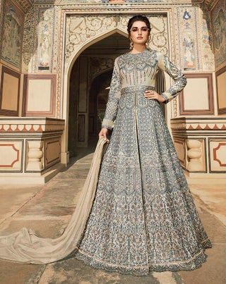 Grey Tafetta Party Wear  Anarkali Dress With Grey Dupatta