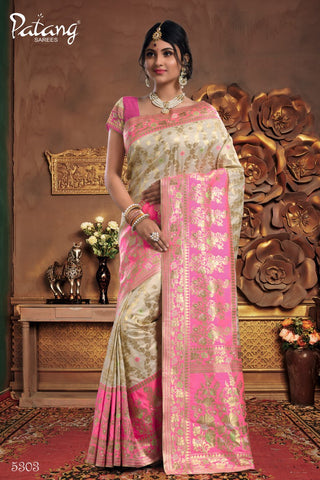 Off White Meenakari Silk Party Wear Saree With Off White Blouse