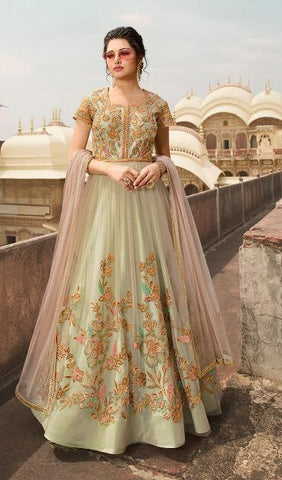 Green Net Party Wear  Anarkali Dress With Pink Dupatta