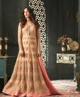 Peach Net Golden Embroidered Front Slit Type Anarkali Suit With Dupatta