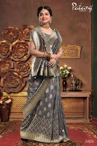 Grey Meenakari Silk Party Wear Saree With Grey Blouse