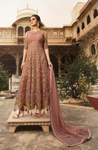 Wine Net Party Wear  Anarkali With Wine Dupatta