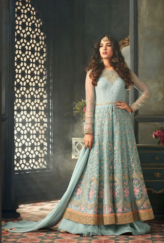 Blue Net Floral Thread Embroidery Abaya Style Front Slit Anarkali Suit With Dupatta