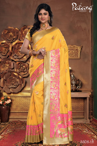 Yellow Meenakari Silk Party Wear Saree With Yellow Blouse