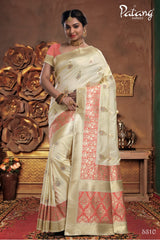 Off White Meenakari Silk Party Wear Saree With Pink Blouse