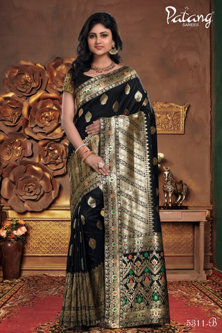 Black Meenakari Silk Party Wear Saree With Black Blouse