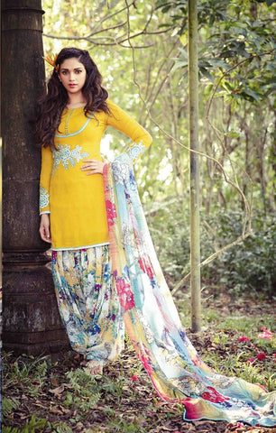 Patiyala suits Yellow,cotton jaquard