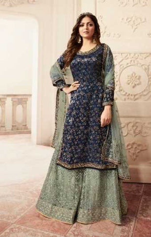 Blue Dola Jacquard Party Wear Salwar Suit With  Dupatta