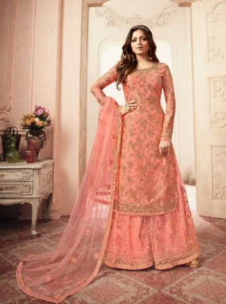 Peach Dola Jacquard Party Wear Salwar Kameez With  Dupatta