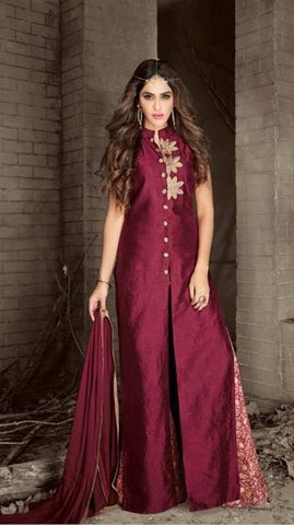 Banarasi Silk Maroon Color Salwar Kameez With Dupatta