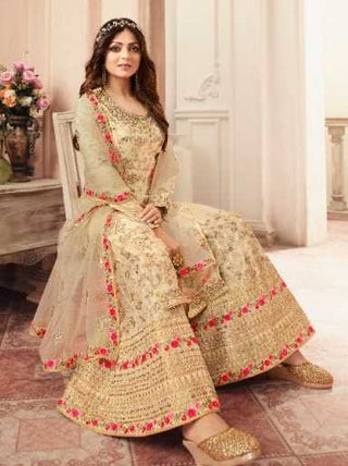 Beige Dola Jacquard Party Wear Salwar Kameez With  Dupatta
