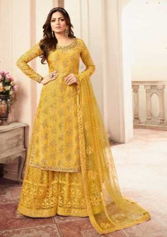 Yellow Dola Jacquard Party Wear Salwar Suit With  Dupatta