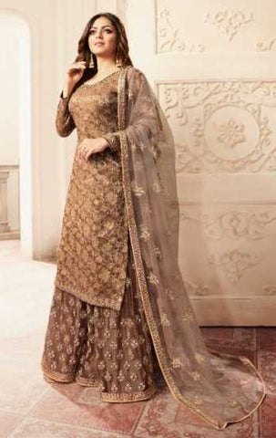 Dark Chestnut Dola Jacquard Party Wear Suit With  Dupatta