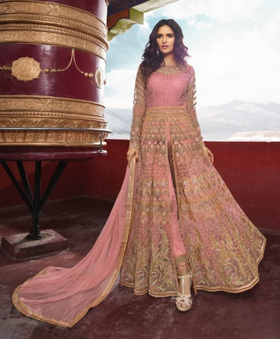 Pink Banglori Party Wear Anarkali Suit With Pink Dupatta