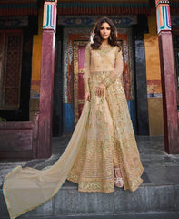 Peach Banglori Party Wear Anarkali Suit With Peach Dupatta
