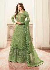 Green Dola Jacquard Party Wear Salwar Suit With  Dupatta