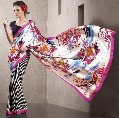 Crepe silk saree with white color pallu with prints and black color blouse