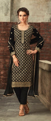 Black Velvet Party Wear  Salwar Kameez With Dupatta